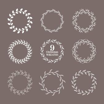Coroa de flores de inverno de natal, elementos de design caligráfico vintage, decoração botânica de ano novo, ilustração vetorial, molduras modernas para convite, casamento, álbum de recortes, cartões de natal de férias