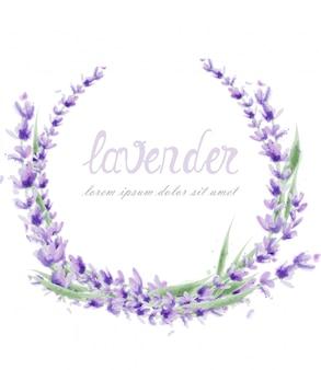 Coroa de flores de lavanda em aquarela