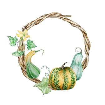 Coroa de flores de outono pintada à mão em aquarela. guirlanda de madeira com abóboras, folhas e flores. ilustração de outono