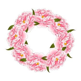 Coroa de flores de peônia rosa