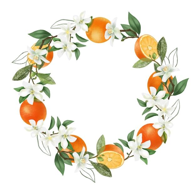 Coroa de flores desenhadas à mão em ramos de laranjeira em flor, flores de laranjeira e laranjas