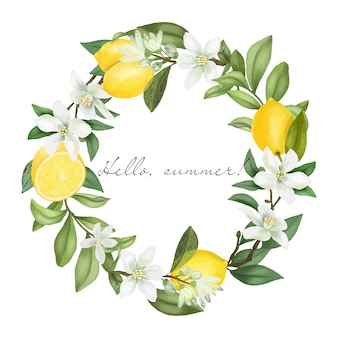Coroa de flores desenhadas à mão, ramos de árvores de limão florescendo, flores de limão e limões
