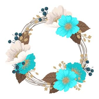 Coroa de flores desenho quadro de círculo com flores