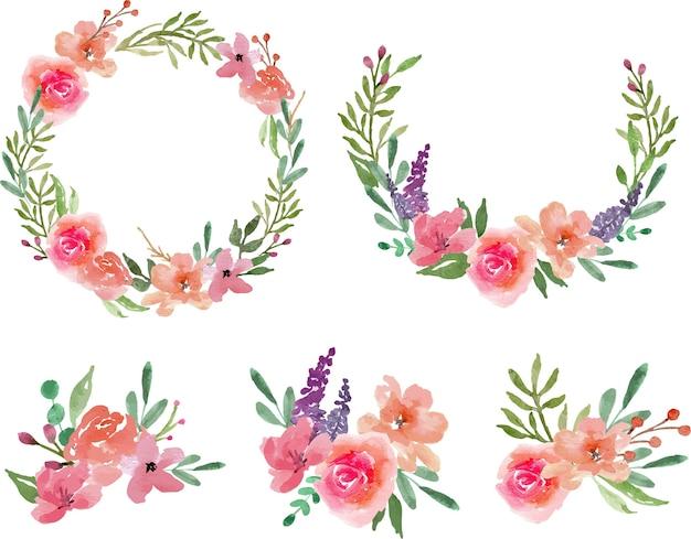 Coroa de flores e arranjo floral pastel