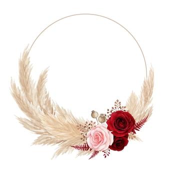 Coroa de flores em aquarela boêmia com rosa vermelha e grama dos pampas