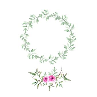 Coroa de flores em aquarela boho e buquê.
