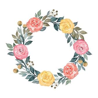 Coroa de flores em aquarela com flor amarela e flor vermelha