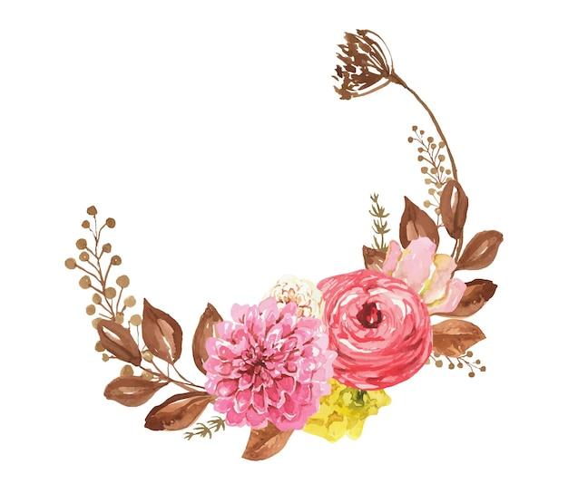 Coroa de flores em aquarela com flores em aquarela de outono