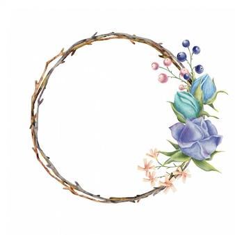 Coroa de flores em aquarela com flores rosas