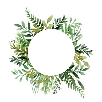 Coroa de flores em aquarela com folhas verdes para uma ocasião especial
