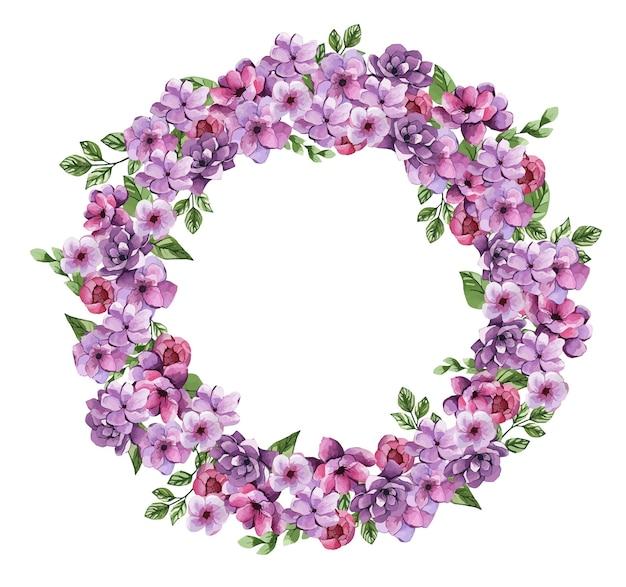 Coroa de flores em aquarela com lindas flores lilás