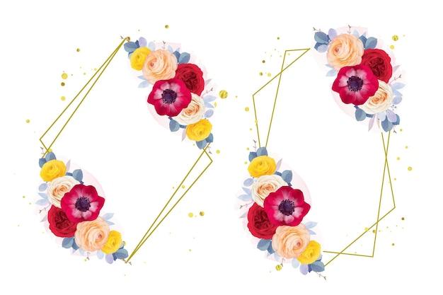 Coroa de flores em aquarela de anêmona rosa vermelha e flor de ranúnculo