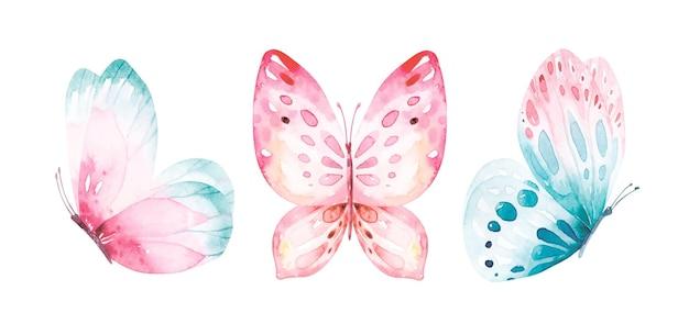 Coroa de flores em aquarela de borboletas azuis voadoras