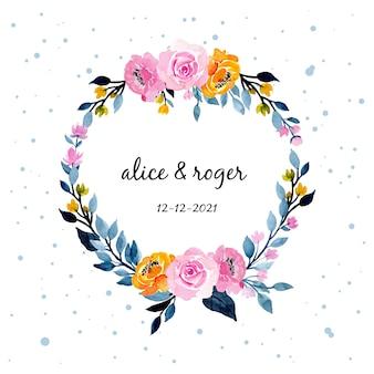 Coroa de flores em aquarela de casamento