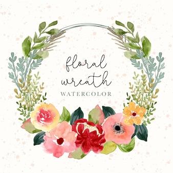 Coroa de flores em aquarela de flor