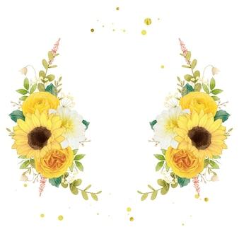 Coroa de flores em aquarela de flores amarelas