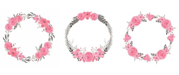 Coroa de flores em aquarela de flores rosa e cinza