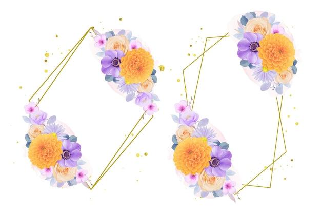 Coroa de flores em aquarela de flores roxas e amarelas