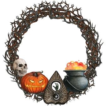 Coroa de flores em aquarela de halloween