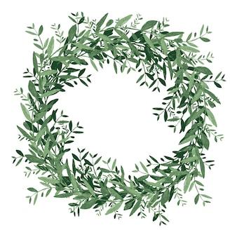 Coroa de flores em aquarela de oliva. ilustração em vetor isolado no fundo branco.