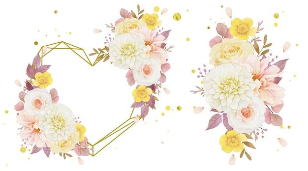 Coroa de flores em aquarela de outono e buquê de dália e rosas