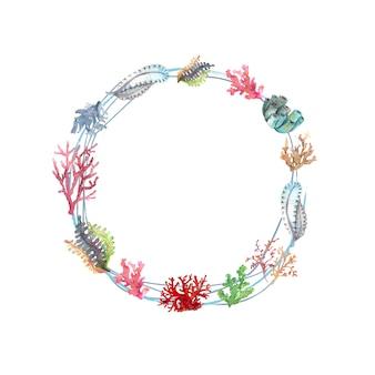 Coroa de flores em aquarela de plantas subaquáticas e corais