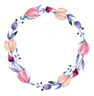 Coroa de flores em aquarela de primavera rosa pastel e bagas