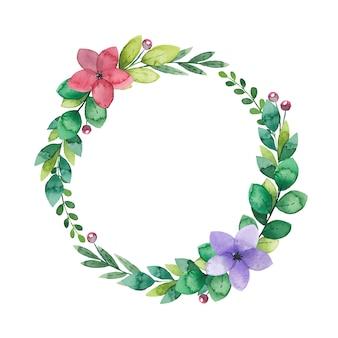 Coroa de flores em aquarela de ramos verdes e flores