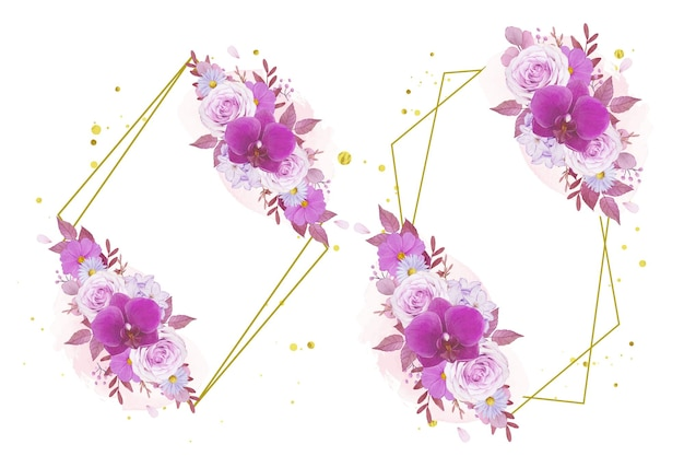 Coroa de flores em aquarela de rosa roxa e orquídea
