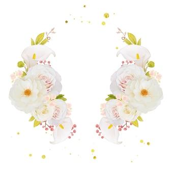 Coroa de flores em aquarela de rosas brancas e copo-de-leite