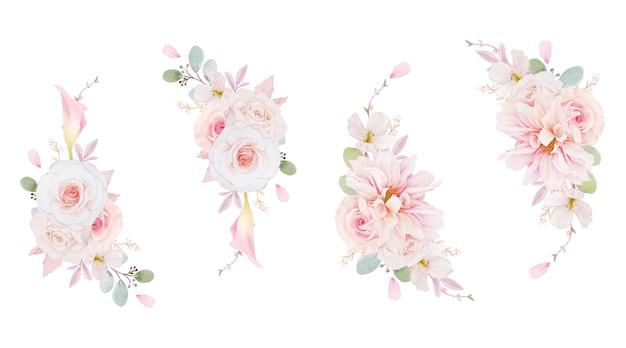 Coroa de flores em aquarela de rosas, dália e flor de lírio