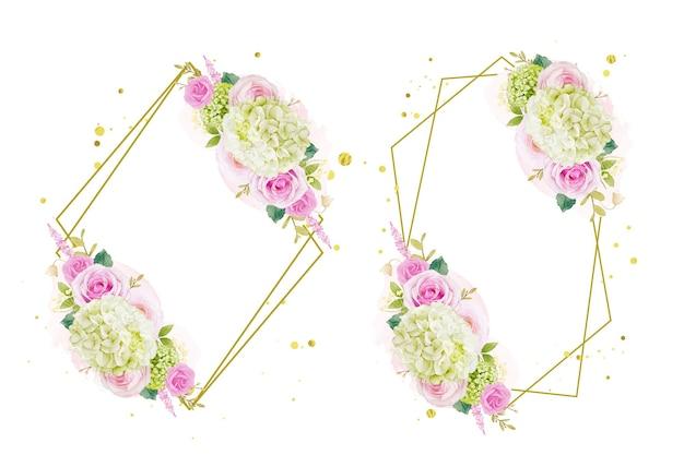 Coroa de flores em aquarela de rosas e hortênsias