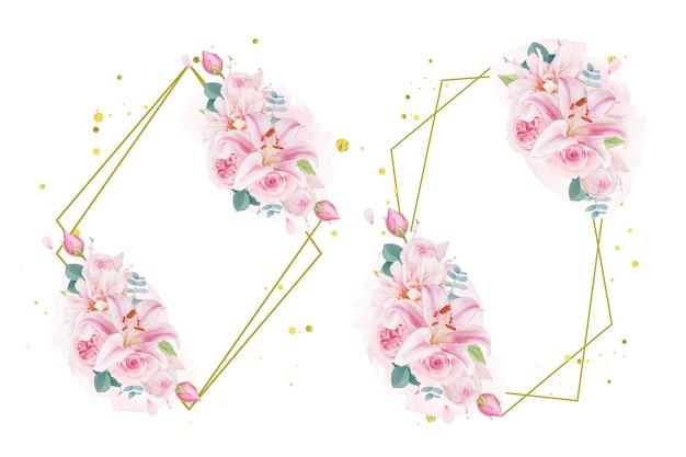 Coroa de flores em aquarela de rosas, lírio e dália