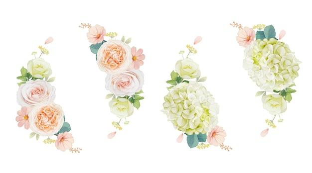 Coroa de flores em aquarela de rosas pêssego e flor de hortênsia