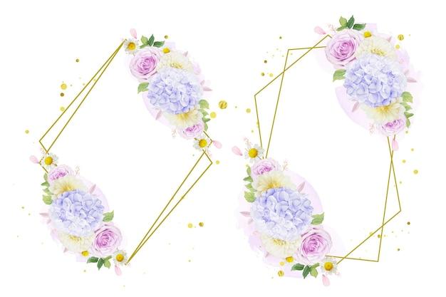 Coroa de flores em aquarela de rosas roxas, dália e flor de hortênsia