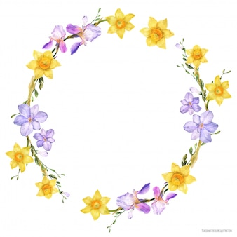 Coroa de flores em aquarela decorativa com flores da primavera