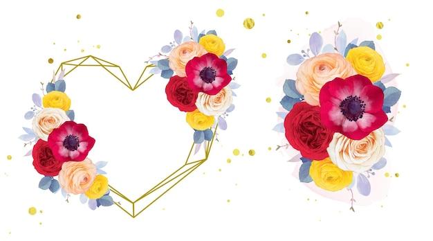 Coroa de flores em aquarela e buquê de anêmona rosa vermelha e flor de ranúnculo