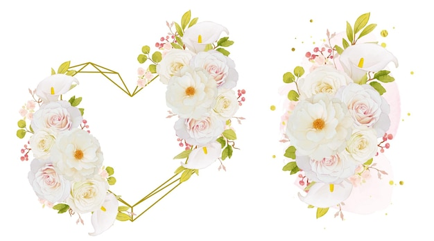 Coroa de flores em aquarela e buquê de rosas brancas e copo-de-leite