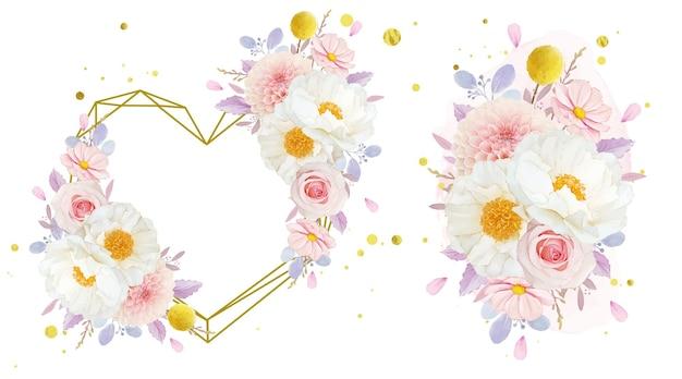 Coroa de flores em aquarela e buquê de rosas, dália e flor de peônia