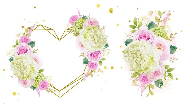 Coroa de flores em aquarela e buquê de rosas e hortênsias