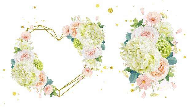 Coroa de flores em aquarela e buquê de rosas pêssego e flor de hortênsia