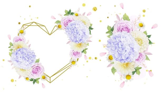 Coroa de flores em aquarela e buquê de rosas roxas, dália e flor de hortênsia