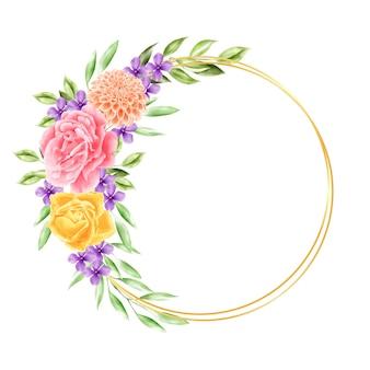 Coroa de flores em aquarela flor de moldura