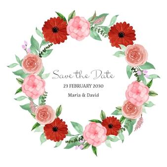 Coroa de flores em aquarela floral rústica rosa vermelha romântica