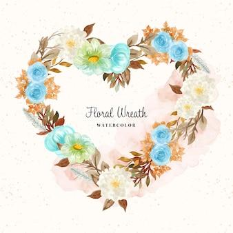 Coroa de flores em aquarela fofa em forma de amor