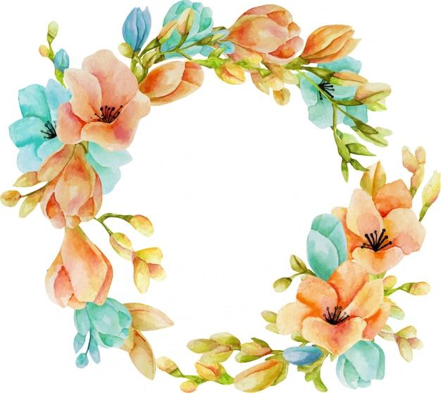 Coroa de flores em aquarela freesia rosa e azul