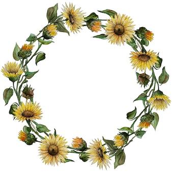 Coroa de flores em aquarela girassóis