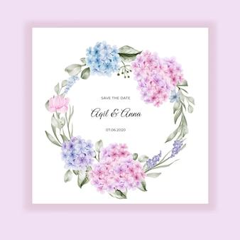 Coroa de flores em aquarela hortênsia rosa azul