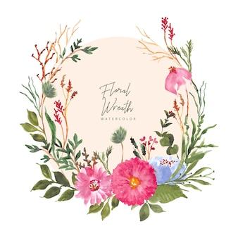 Coroa de flores em aquarela jardim floral bonito