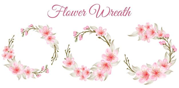 Coroa de flores em aquarela linda flor de cerejeira